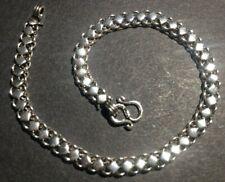 SOLID SILVER BRACELET *BN* diamond detail, .925 silver, 19.5cm *PIKUN* unusual
