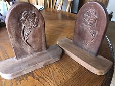 Pair of Wood Bookends Rose Carved