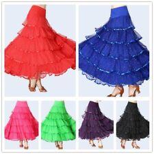 Women Ballroom Skirt Modern Dance Tutu Dress Sequin Waltz Tango Latin Costume