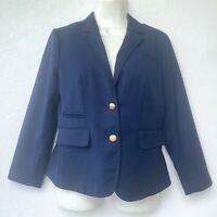 Banana Republic Women Blazer Size 6 Petite Navy Blue Long Sleeve Lined 2 Button