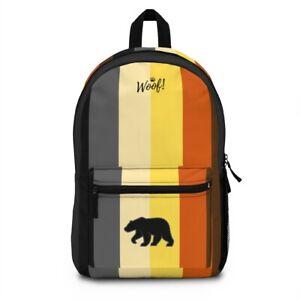 Bear Pride - WOOF ! - Bear Pride Flag Design - Vertical Stripes Backpack Bookbag