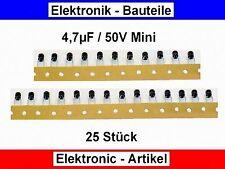 Elko - Kondens. Mini gegurtet 4,7µF (4.7uF) / 50V / ca. 5 x 5mm / 25 Stück Neu