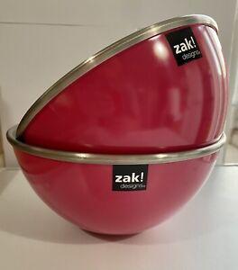 Zak!  Designs Gemini Mixing Salad Bowl Melamine/Steel 20cms Hot Pink!🔥Camping