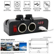 LED 12V / 24V Car Fast Charger Socket Dual USB Voltmeter with Rocker Switch 16A