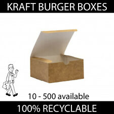More details for brown kraft burger boxes food takeaway containers compostable disposable strong