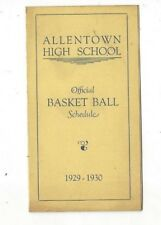 1929-30 Allentown High School (PA) Basketball Schedule