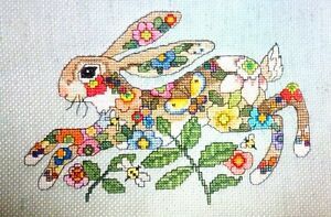 """Flowers Hare - 7"""" x 11"""" Finished, Completed, Cross Stitch Piece"""