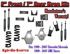 "1999 - 2007 Chevrolet Silverado / GMC Sierra 1500 V8 5"" / 7"" Lower Drop + SHOCKS"