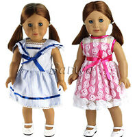 Barwa 2 Handmade Lovely Dress Wears Outfits for 18 Inch American Girl Doll