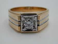 Men's 14k Gold Solitaire .47 ct Round Diamond Ring G/SI3 Designer LeMans StarGlo