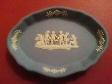 Vintage mini oval blue Wedgwood Jasperware Cupid porcelain trinket vanity dish