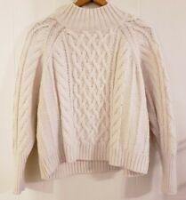 GAP Sweater Petite Large Cream Ivory Cable Knit Fisherman Crop Mock Turtleneck