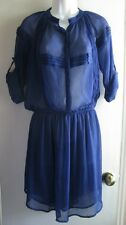 STARING AT STARS NWT $79 URBAN OUTFITTERS BLUE CHIFFON SHEER BODICE DRESS SZ M