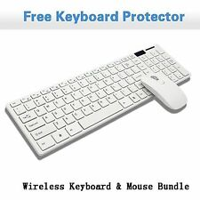 2.4GHz Optical Wireless Keyboard and Mouse USB Receiver Kit White For Laptop PC