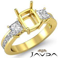 3 Stone Diamond Wedding Ring 18k Yellow Gold Princess Cushion Semi Mount 1.1Ct