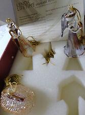 Lenox Crystal Set Of 5 Crystal Gold Trim Christmas Nativity Ornament