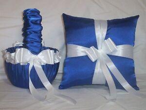 HORIZON BLUE SATIN / WHITE TRIM FLOWER GIRL BASKET & RING BEARER PILLOW #2