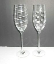 2 Mikasa Cheers Fluted Champagne Glasses Spiral & Bubbles