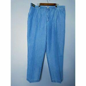 David Taylor Jeans Light Wash Blue Chambray Back Elastic Flat Front 46X32 NEW