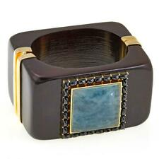 "Rarities 63.76Ct Aquamarine & Black Spinel Vermeil 7"" Wooden Bracelet Hsn $289"