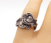 AVON 925 Silver - Vintage Oxidized Floral Spoon Wrap Band Ring Sz 7 - R14954