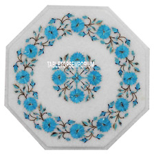 """15"""" White Marble Coffee Valentine Corner Table Top Turquoise Floral Inlay Decor"""