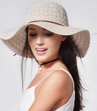 Chapeaux d'été Chapeau de soleil Beige plage Mode Pliable Paille Brimmed Neuf FR