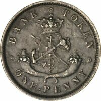 1857 Bank of Upper Canada One Penny Token PC6D-719 -High Grade Circ!-d736qdh