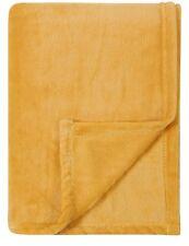NEW OCHRE YELLOW MUSTARD HONEY SUPER SOFT PLUSH FLEECE THROW BLANKET 120 x 150cm