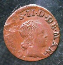 1654 France Denier Tournois Medieval Coin