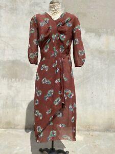 Antique 1930s Daisy Print Silk Chiffon Dress Ruched Draped Floral Midi  Vintage