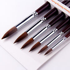 Kolinsky Red Sable Hair Round Tip Artist Paint Brush For Watercolor Oil 6Pcs/Set