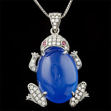 BLUE CHALCEDONY & FLAWLESS CREATED DIAMOND 925 STERLING SILVER TURTLE NECKLACE