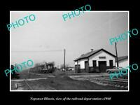 OLD LARGE HISTORIC PHOTO OF NEPONSET ILLINOIS, THE RAILROAD DEPOT STATION c1960