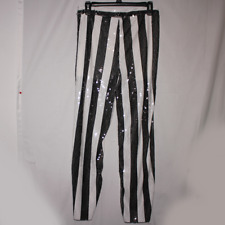 NWT Zara TRF Striped Sequin Ankle Crop Casual Trouser Pants Size S Festive Party