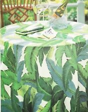 Tommy Bahama ~ Green Banana Palm Leaves Tablecloth ~ Tropical Pool Party 60 x 84