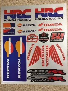 2 Pack Honda Reflective Mx stickers decals graphics Sheet waterproof Repsol Hrc