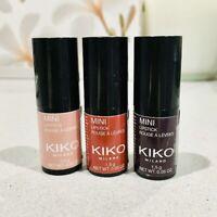Kiko Milano Trio Mini Lipsticks Set 3x1.5g Light Rose Hibiscus Violet NEW Sealed