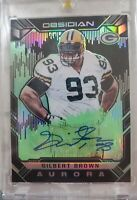 2018 Obsidian Gilbert Brown Aurora Green Parallel Auto Card.packers # 14/25