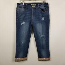 Democracy Slim Straight Flood Distressed Dark Wash Womens Jeans Size 12