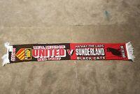 Manchester United v Sunderland Vintage Football Scarf Soccer Bufanda Fancy  0562