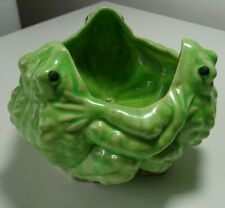 Antique Three Frogs Hand Painted Japan Flower Pot Planter Center Piece Ceramic