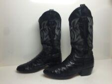 Vtg Mens Imperial Cowboy Ostrich Skin Leather Black Boots Size 8.5 Ee