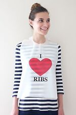 100 PACK OF DISPOSABLE PLASTIC I LOVE RIBS BIBS FREE SHIPPING