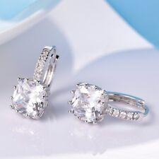 Women Sparkly Princess White Swarovski Crystal Silver GF Leverback Hoop Earrings