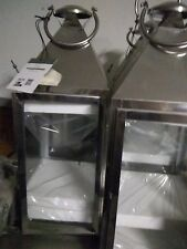 "stainless steel Silver 15"" tall Candle holder Lantern"