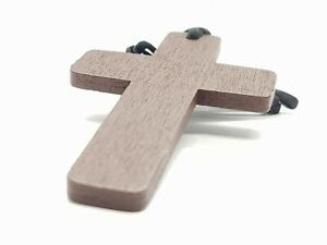 100pcs Wholesale Necklace Cross Wooden Crucifix Jesus Leather Rope Cord Church