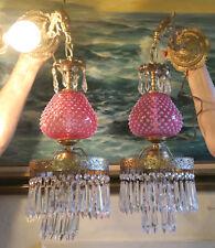 Pair Vintage Fenton Cranberry Glass Bronze Brass Sconces lamp crystal prisms