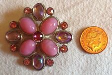 Safety Catch. Good Condition. Large Pink Brooch, With