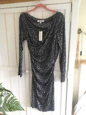 "LK BENNETT ""Dr Mariella"" Animal Print Grey Black Dress, UK 14, EU 42, BNWT £225"